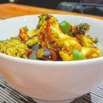 Simple roasted cauliflower amp broccoli scramble with turmeric amp chillihellip