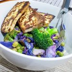Messy Weeknight Protein Bowl marinated tofu broccoli red cabbage peashellip