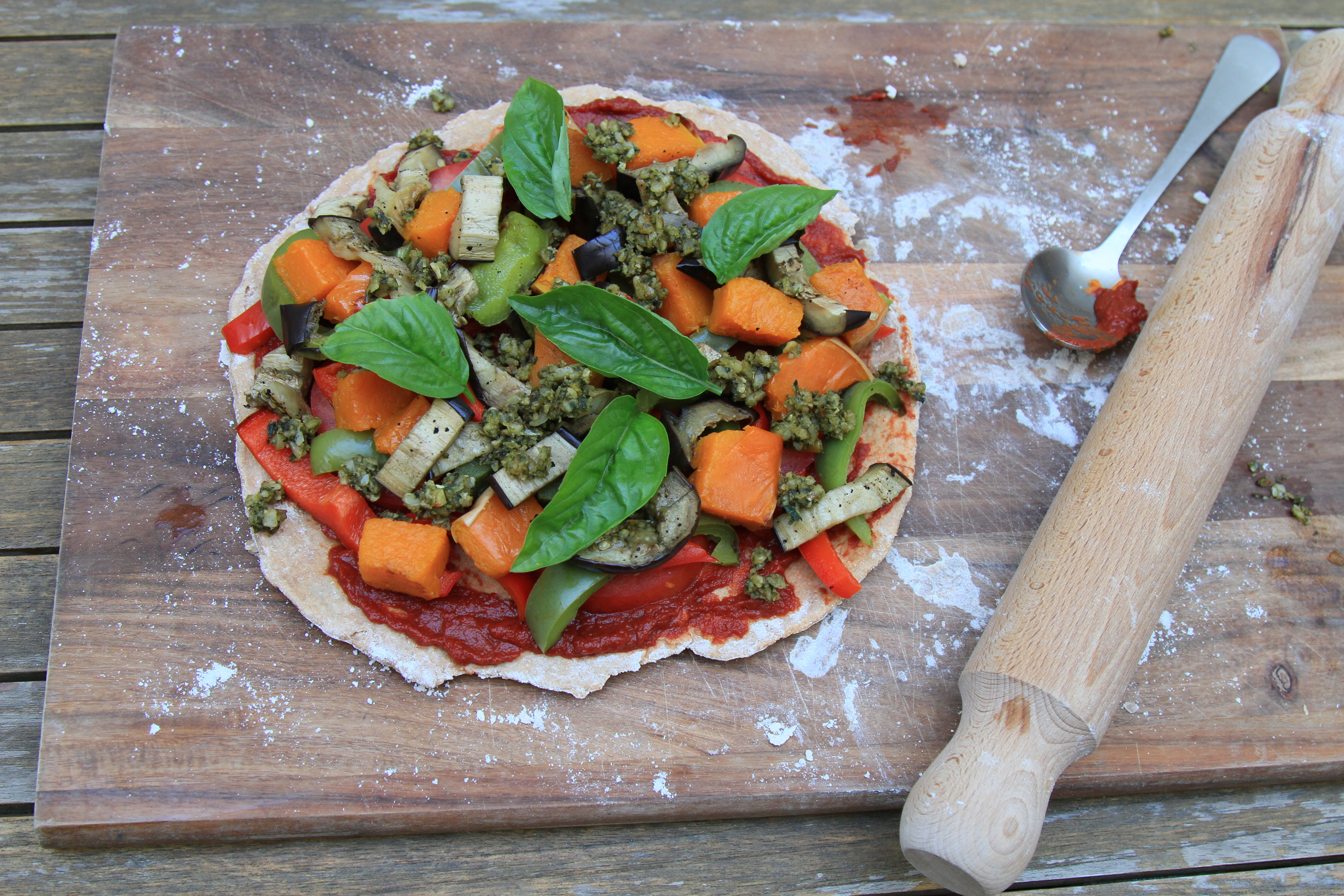 Roast Vegetable Wholemeal Spelt Pizza