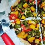Roast vegetable amp pesto pizza on homemade wholemeal spelt base